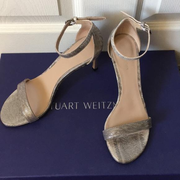 fdd0a472cc17 Stuart Weitzman Nudist Silver Sparkle Heel Sandals.  M 5b9ac9e15c445233c9e28487